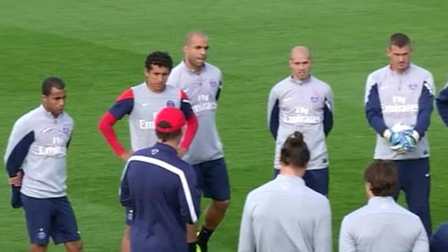 Paris St Germain train before Ligue 1 match with Bastia