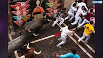 Man Takes Selfie During Bull-run Festival In Spain