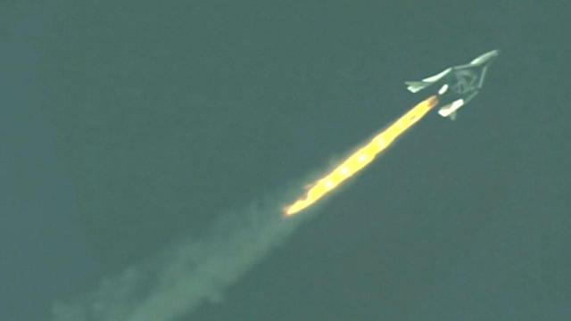 Virgin Galactic spaceship takes first powered flight over Mojave