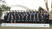G20 finance ministers gather for group photograph in Australia's Sydney