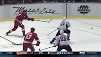 Johan Franzen fires a laser on the PP