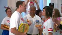 Speed eaters weigh-in for Nathan's Hot Dog Contest