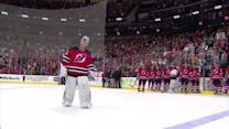 Devils embrace Brodeur after the win