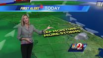 Mostly cloudy, spotty showers Tuesday