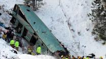 Raw: Aerial View of Oregon Bus Crash