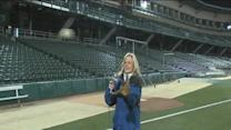 RTV6's Julie Pursley plays catch at Victory Field